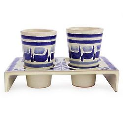 Blue Agave Majolica Ceramic Tequila Glasses