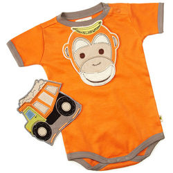 Droolproof Monkey and Truck Bibs and Babysuit Set