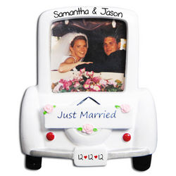 Personalized Just Married Photo Frame Ornament