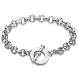 Silver Plated Link Chain Toggle Bracelet