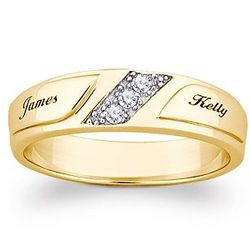 10K Gold Cubic Zirconia Engraved Name Wedding Band