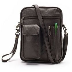 Leather Man Bag with Cell Phone Pocket