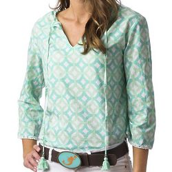 Boho Chic Green Circle Shirt