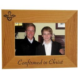 Personalized Confirmed in Christ Wood Frame with Dove