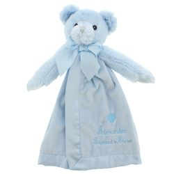 Personalized Baptism Bear Snuggler in Blue