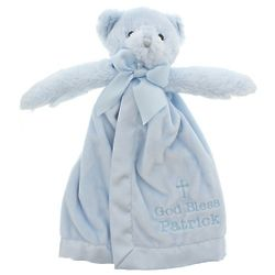 Personalized God Bless You Bear Snuggler in Blue