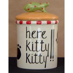 Personalized Ceramic Here Kitty Kitty Treat Jar