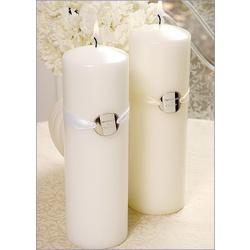 Ribbon Charm Unity Candle - White