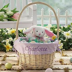 Personalized Jumbo Easter Basket with Lavender Liner