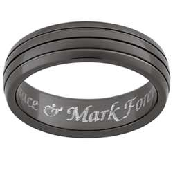 Mens Black Titanium Polished Ridged Engraved Message Band