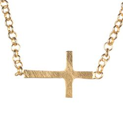 Whispers Cross Gold Dipped Necklace