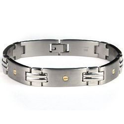 Stainless Steel Link Bracelet with 14K Gold Screws