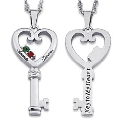 Couple's Name and Birthstone Heart Key Pendant