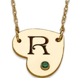 10K Gold Initial and Birthstone Heart Necklace