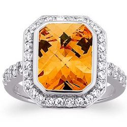 Sterling Silver Emerald-Cut Citrine Cubic Zirconia Cocktail Ring