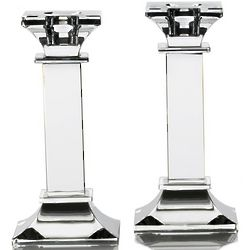 Classic 6 Inch Square Pillar Crystal Taper Candle Holders