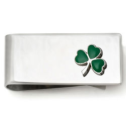 Sterling Silver Shamrock Money Clip
