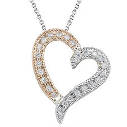 0.17 Cts Diamond Heart Pendant in 14K Two Tone Gold