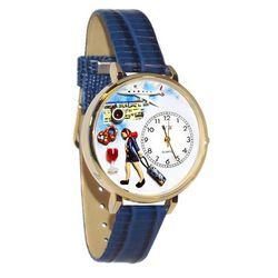 Flight Attendant Whimsical Watch in Large Gold Case
