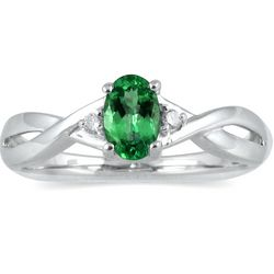 Emerald and Diamond Ring in 10kt White Gold