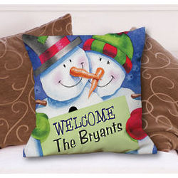Personalized Christmas Welcome Throw Pillow