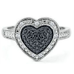 Sterling Silver Black and White Diamond Heart Ring