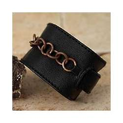 Black Love Chain Copper and Leather Bracelet