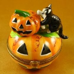 Cat with Pumpkins Limoges Box