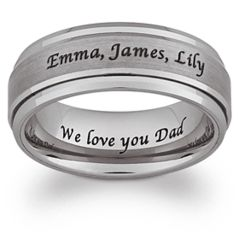 Tungsten Laser Engraved Brushed and Polished Spinner Ring