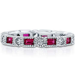 Ruby Cubic Zirconia Alternate Full Eternity Ring