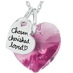Sterling Silver Heart-Shaped Pink Swarovski Crystal Necklace
