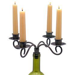 Heirloom Taper 4 Candle Wine Bottle Candelabra