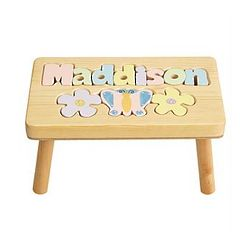 Personalized Pastel Flower Puzzle Step Stool