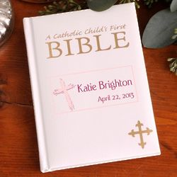 Personalized God Bless Pink Catholic Child's First Bible