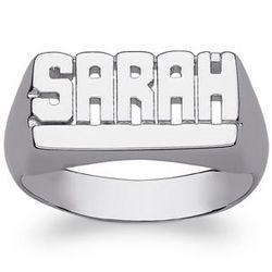 Ladies Celebrium Underlined Name Ring