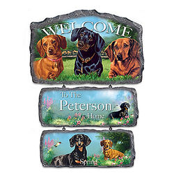 Personalized Dachshund Art Welcome Sign