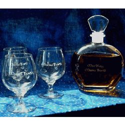 Personalized Engraved Brandy Decanter Set