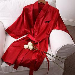 Shimmering Red Satin Kimono Robe