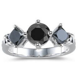 Three Stone Black Diamond Ring in 14K White Gold