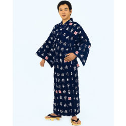 Deep Blue Men's Yukata Robe