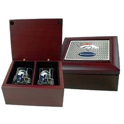 NFL Double Shot Glass Mahogany Gift Set