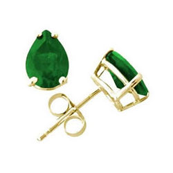 All-Natural Pear Shape Emerald Earrings Set in 14k Gold
