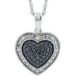 Sterling Silver Black and White Diamond Heart Necklace