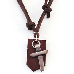 Pewter Cross with Leather Backing Adjustable Necklace