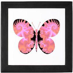 Noble Peach Butterfly Tile Keepsake Box