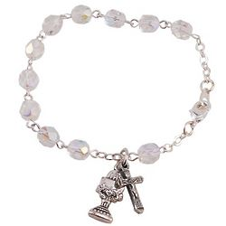 Chalice and Crystal Beads Communion Bracelet