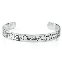 Sterling Silver Cherish Inscribed Bangle Bracelet