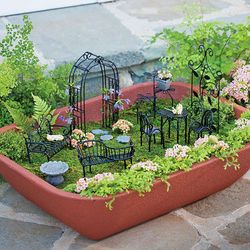 Double Walled Self-Watering Herb Garden with Fairy Furniture