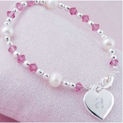 Girl's Personalized Heart Charm Bracelet