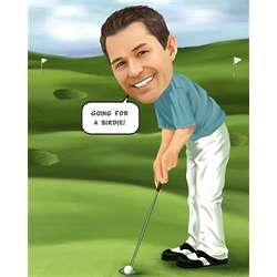 Male Golfer Caricature Print
